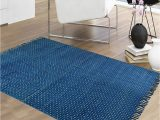 Blue 4×6 area Rugs Polka Dots Printed Cotton Indigo Blue area Rug 4×6 Ft