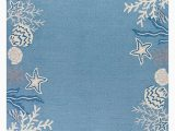 """Blue and Coral area Rug area Rugs """"molokini"""" Hand Hooked Coral Reef Border Rug 5 X 7 6"""""""