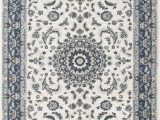 Blue and Cream oriental Rug Zara Medallion Cream Blue oriental Rug