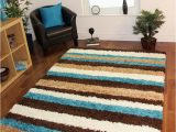 Blue and Cream Striped Rug Teal Blue Chocolate Brown Cream Striped Mat Anti Shedding