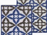 Blue and Gray Bath Rug Sandler Rectangle Non Slip Floral 2 Piece Bath Rug Set