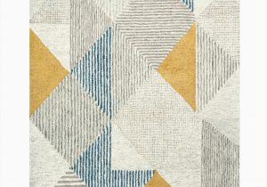 Blue and Gray Wool Rug Griffin Geometric Handmade Tufted Wool Blue Gray Yellow area Rug