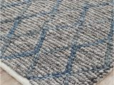 Blue and Gray Wool Rug Negola Luxury Madras Felted Wool Rug Blue Grey