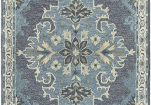 Blue and Gray Wool Rug Rizzy Home Resonant Collection Wool area Rug 8 X 10 Dark Gray Blue Gray Gray Blue Natural Ivory Central Medallion