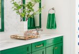 Blue and Green Bathroom Rugs Green and Neutral Bathroom with Mirrors Patterned Wallpaper