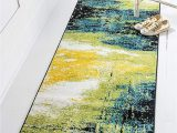 Blue and Green Runner Rug Unique Loom Lyon Collection Modern Abstract Runner Rug 2 7 X 10 Light Green Blue