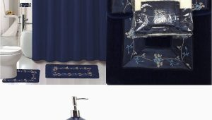 Blue and Grey Bathroom Rugs 22 Piece Bath Accessory Set Navy Blue Flower Bathroom Rug Set Shower Curtain & Accessories