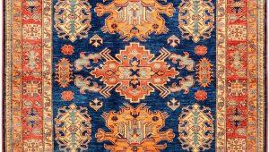 Blue and orange oriental Rug Peach and Navy Geometric Kazak Rug orientalrugs Geometrics