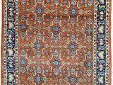 """Blue and orange oriental Rug Vintage Persian Rug Wool Rug orange and Blue Rug 3 X 4 5"""" Rug"""