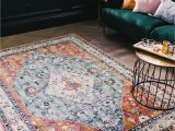 Blue and Rust Rug Light Blue and orange Copper Rust Indian Pattern Rug