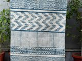 Blue and White Aztec Rug Cotton Hand Printed Rug In Blue and F White Colour the