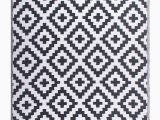Blue and White Aztec Rug Outdoor Rug Recycled Plastic Aztec Grey and White