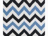 Blue and White Chevron Rug Chevron Flatweave Rug Blue Black White