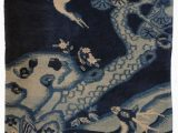 Blue and White Chinoiserie Rug 2 X 4 Antique Chinese Hand Knotted Rug