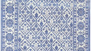 Blue and White Cotton Rug Blue White Vintage Indian Agra Cotton Rug Nazmiyal