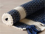 Blue and White Cotton Rug Girard Hand Loomed Rug Default Title 2 X 3