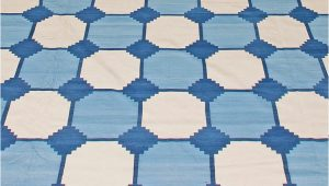 Blue and White Dhurrie Rug Contemporary Oversized Indian Dhurrie Blue and White Rug N by Dlb