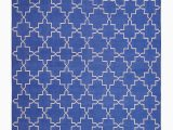 Blue and White Dhurrie Rug Marrakesh Cotton Dhurrie In Blue and White