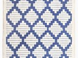 Blue and White Dhurrie Rug Matka Striped Cotton Dhurrie In Blue and White