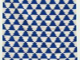 Blue and White Dhurrie Rug Royal Blue and Off White Aztec Design Shuttlewoven Dhurrie
