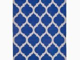 Blue and White Dhurrie Rug Trellis Cotton Dhurrie In Blue and White
