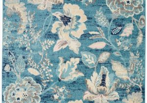 Blue and White Floral Rug Floral Turquoise Blue Ivory White area Rug