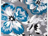 Blue and White Floral Rug Gray Grey Teal Blue White Floral area Rugs – Modern Rugs and