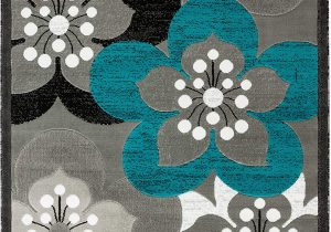 Blue and White Floral Rug Rugs and Decor Newport Collection Style 81 Teal Black Grey White Modern Floral area Rugs 5 1 X 7 2