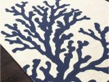 Blue and White Indoor Outdoor Rug Coral Branch Out area Rug Navy Blue and White