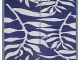 Blue and White Indoor Outdoor Rug Lightweight Indoor Outdoor Reversible Plastic area Rug 5 9 X 8 9 Feet Leaf Pattern Blue White