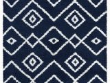 Blue and White Modern Rug Vienna Collection Modern Geometric Shaggy area Rug G3716 Dark Blue & White
