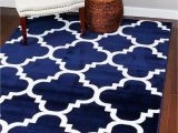Blue and White Moroccan Rug 4518 Navy Blue
