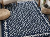 Blue and White Moroccan Rug Cabana Geometric Blue White area Rug