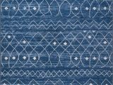 Blue and White Moroccan Rug Moroccan Trellis Diamond Pattern area Rug Blue White