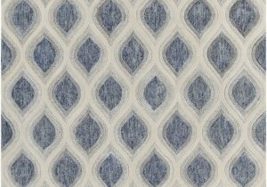 Blue and White Patterned Rug Clara Collection Hand Tufted area Rug In Blue Grey & White