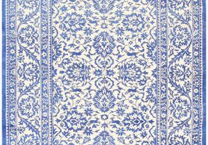 Blue and White Patterned Rug Ivory and Light Blue Vintage Cotton Agra Rug by