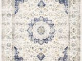 Blue and White Persian Rug New Traditional Vintage Modern Distressed Blue F White