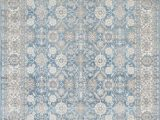 Blue and White Persian Rug Silver ash Gray Ivory Light Blue Faded oriental Distressed