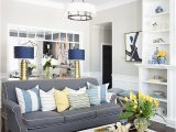 Blue and White Rug Living Room Spring Home tour with Vibrant Yellows and Pretty Blues