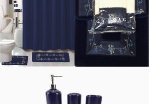 Blue Bath Rug Sets 22 Piece Navy Blue Bathroom Set World Products Mart