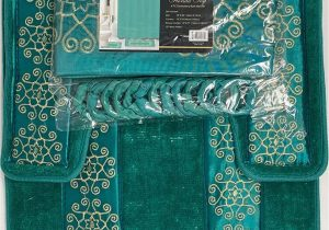 Blue Bath Rug Sets 4 Piece Bathroom Rugs Set Non Slip Teal Gold Bath Rug toilet Contour Mat with Fabric Shower Curtain and Matching Rings Florida Teal