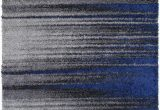 Blue Black and Grey Rug Shed Free Shaggy area Rugs Contemporary Abstract Brush