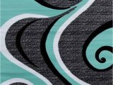 Blue Black Gray area Rug Turquoise Swirls 5×7 area Rug Modern Contemporary Abstract