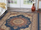 Blue Brown Circle area Rug Blue Traditional Persien oriental Circle Petals Vines area Rug Medallion