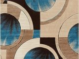 "Blue Brown Circle area Rug Well Woven Blue Yolo Modern Abstract Geometric 3 11"" X 5 3"" area Rug"