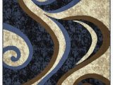 Blue Brown Cream area Rug Princess Collection Geometric Swirl Abstract area Rug 808 Cream & Blue – Beverly Rug