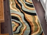 Blue Brown Rug Contemporary Hudson Waves Blue Brown Geometric Modern Casual area Rug