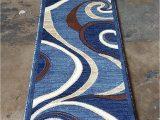 Blue Brown Rug Contemporary Modern Runner Contemporary area Rug Blue Brown Carpet King Design 144 2 Feet X 7 Feet 3 Inch