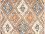 Blue Brown Rug Contemporary Pakistani Signature Collection 93 X 125 Hand Knotted Wool Brown Rug