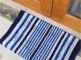 Blue Chenille Bath Rug 1600 Gsm Chenille Loop Striped Handloom Woven Cotton Bath Rug